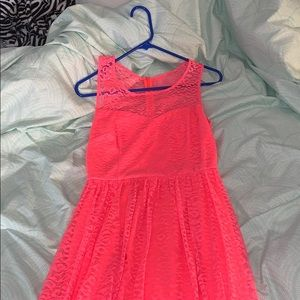 Pink lacy cheetah print zip up jack dress